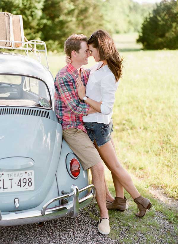 outdoors summer casual props engagement photo idea