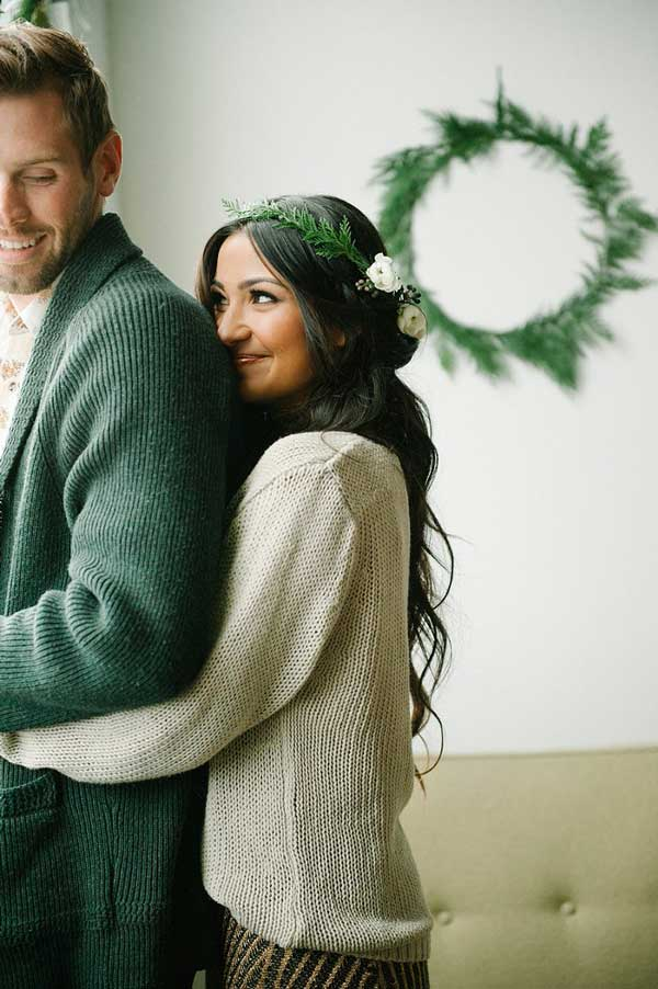 indoors winter casual  engagement photo idea