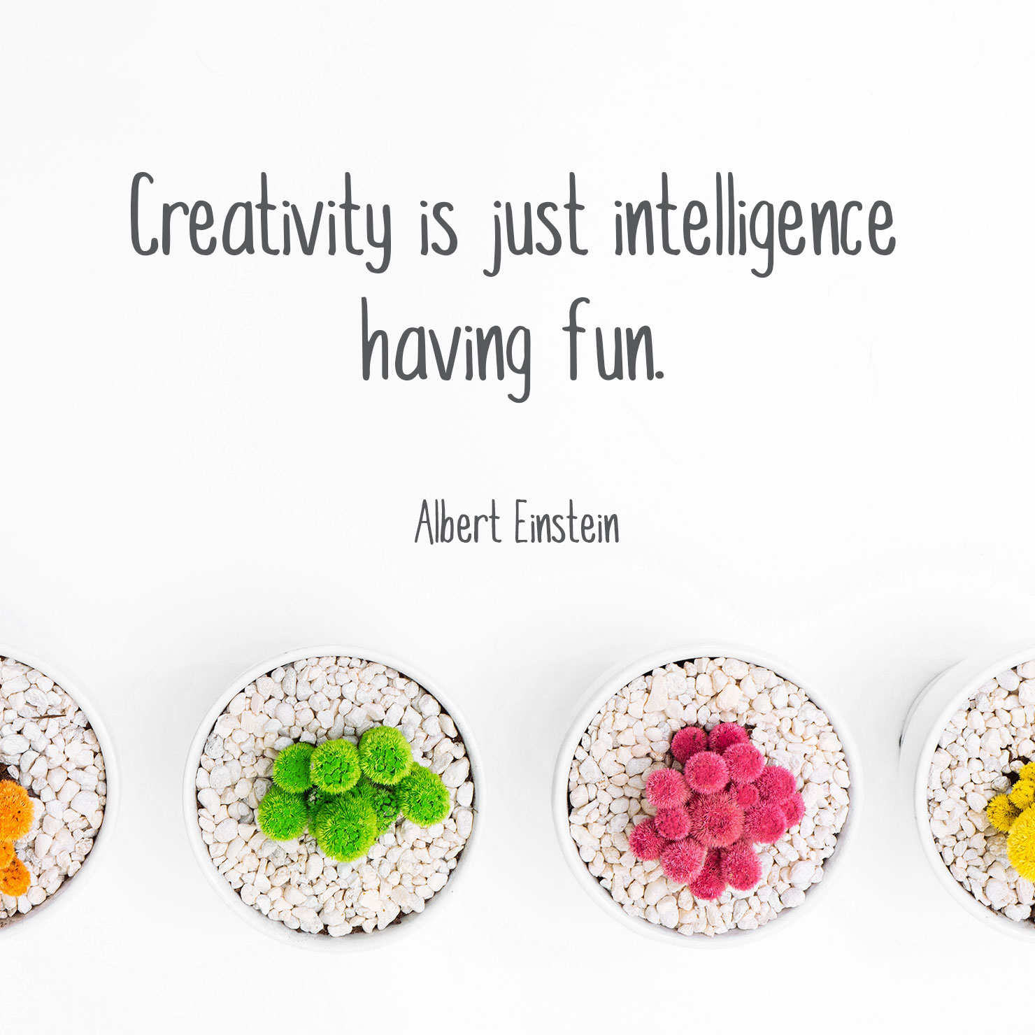 short graduation quote: creativity is just intelligence having fun - Albert Einstein