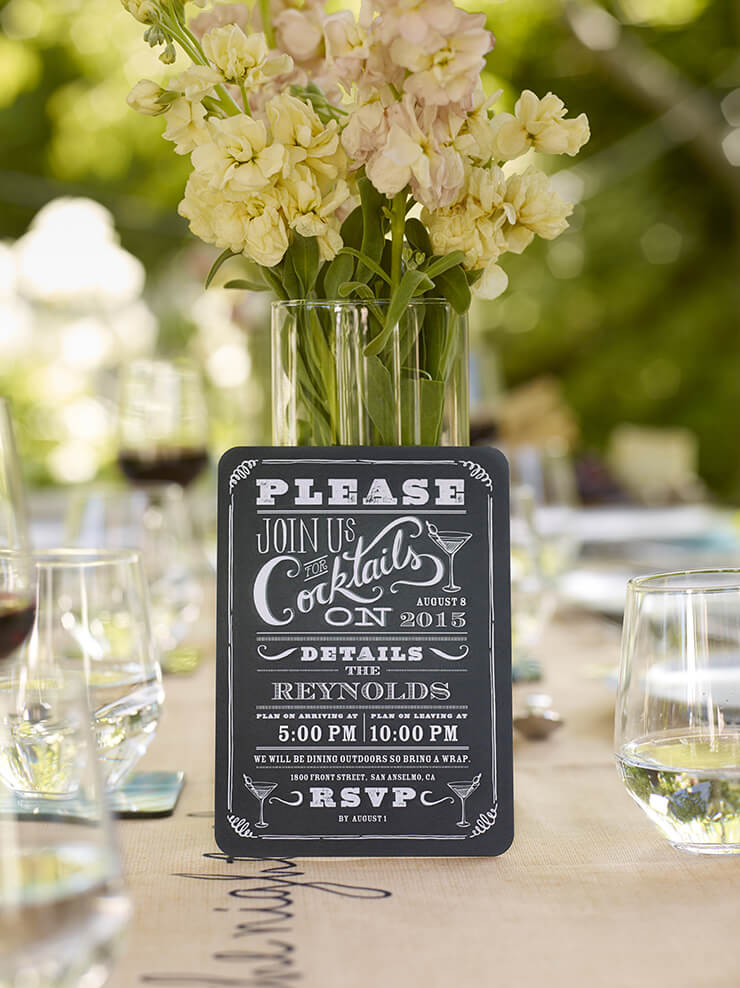 chalkboard cocktail party invitation
