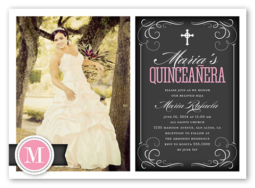 elegant quinceanera party invitation with custom photo