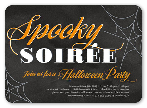 orange and black halloween party invitation for adults