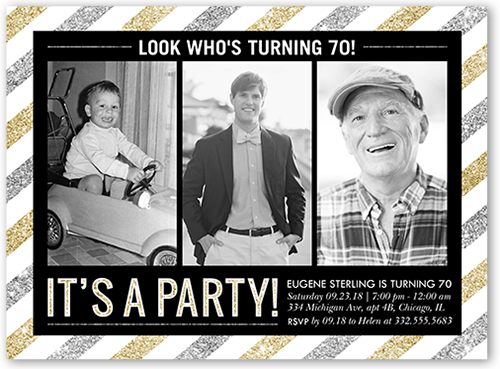 70th birthday party invitation with then and now photos