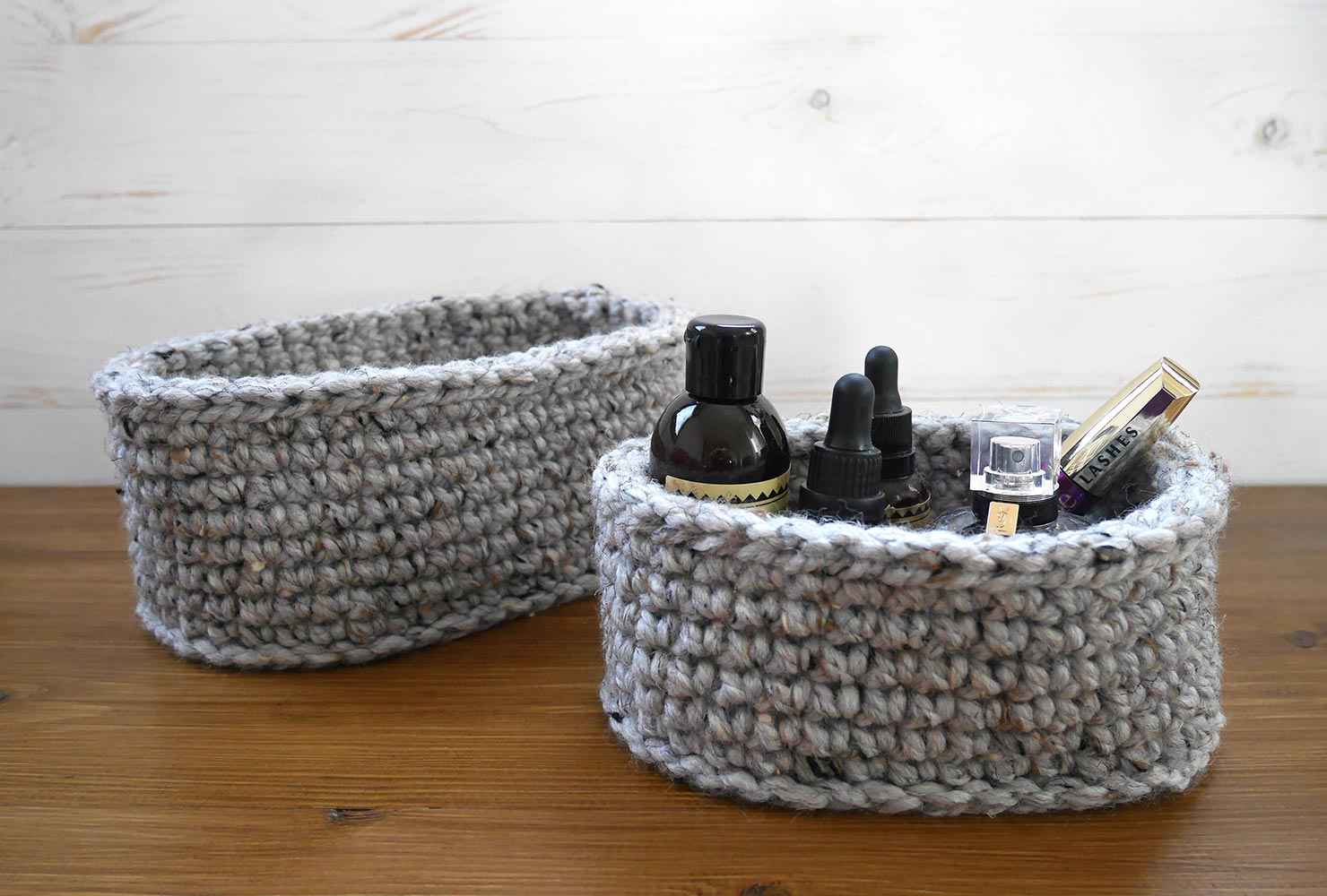 decorate small bathroom crochet basket