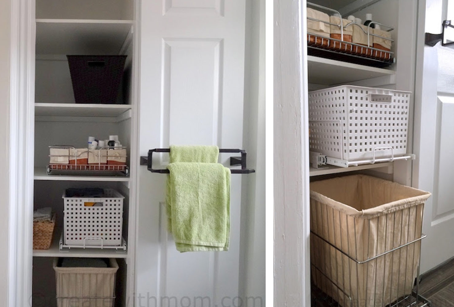 decorate small bathroom cupboard storage baskets