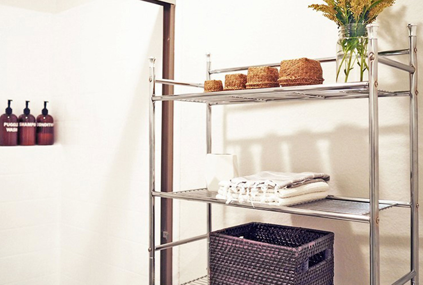 decorate small bathroom metal storage shelves