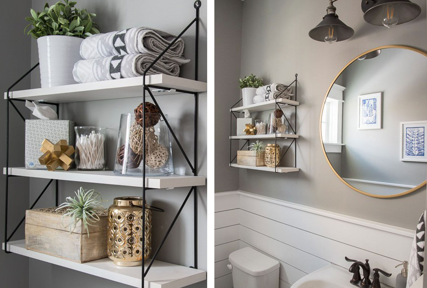 decorate small bathroom modern shelves