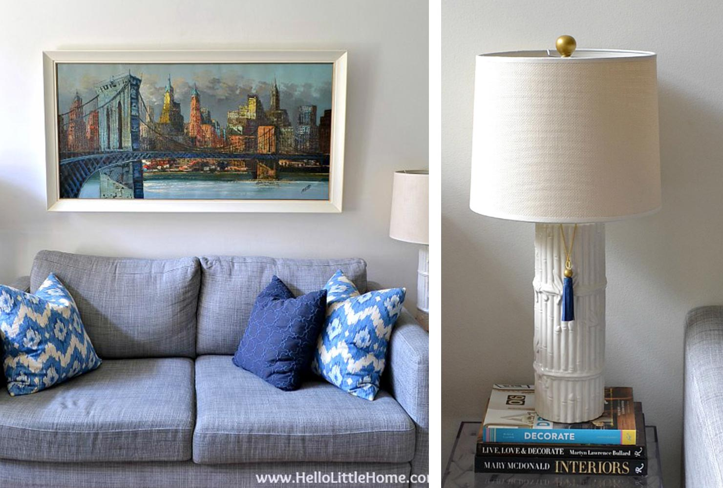 blue couch lamps.