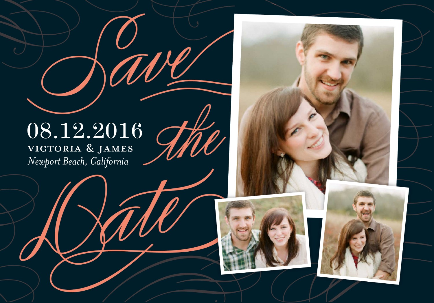 Save the date card with a collage of photos.