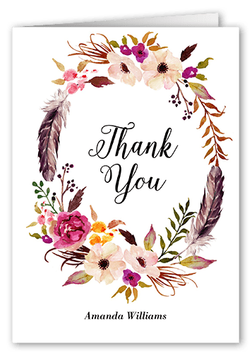 Flowery Circlet card from Shutterfly for what to write in a bridal shower thank you card.