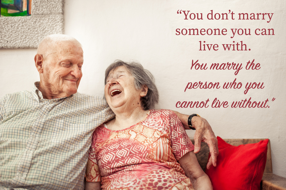Senior Woman And Senior Man Sitting On The Sofa with happy anniversary quotes for parents overlay