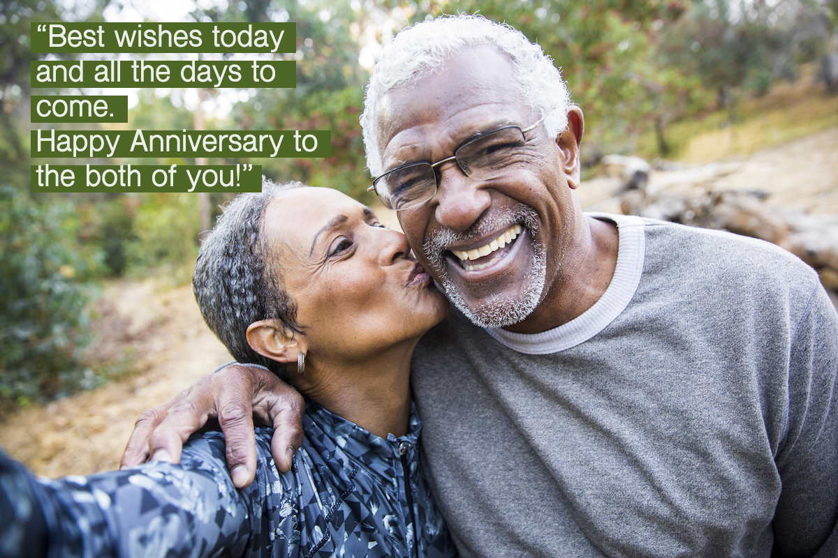 A senior African American Couple takes a selfie during their workout with happy anniversary wishes for parents overlay