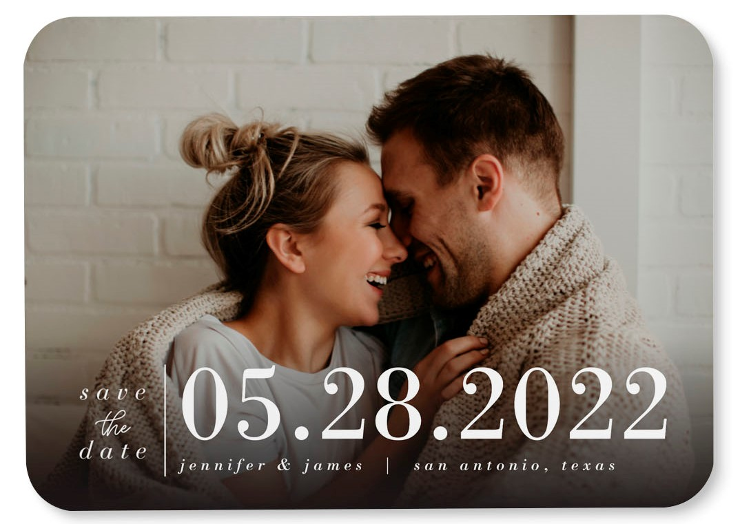 happy couple save the date with date name and location of their wedding