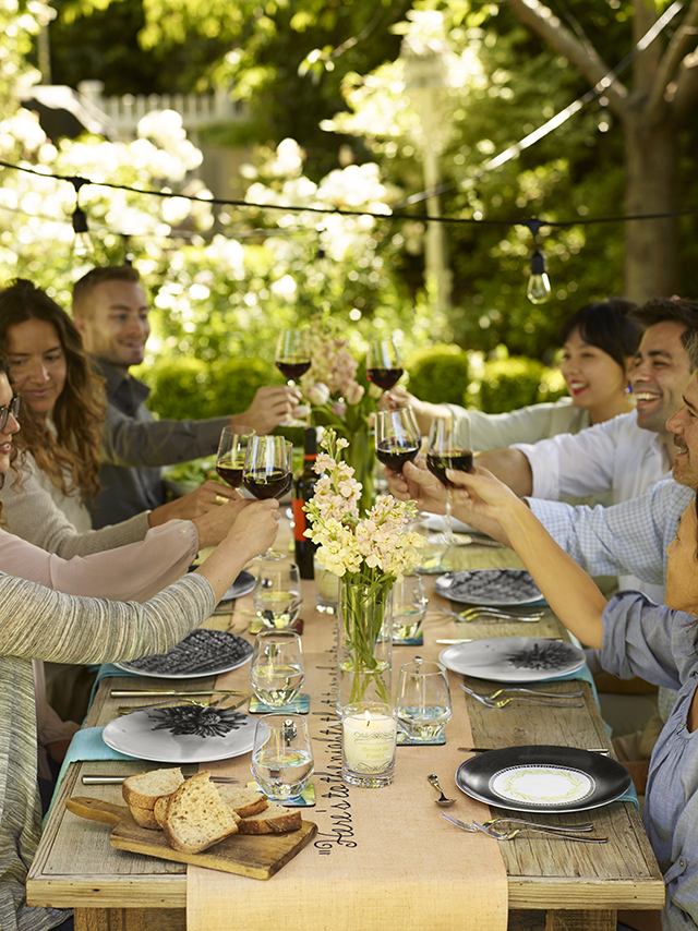 rustic dinner party celebration with friends