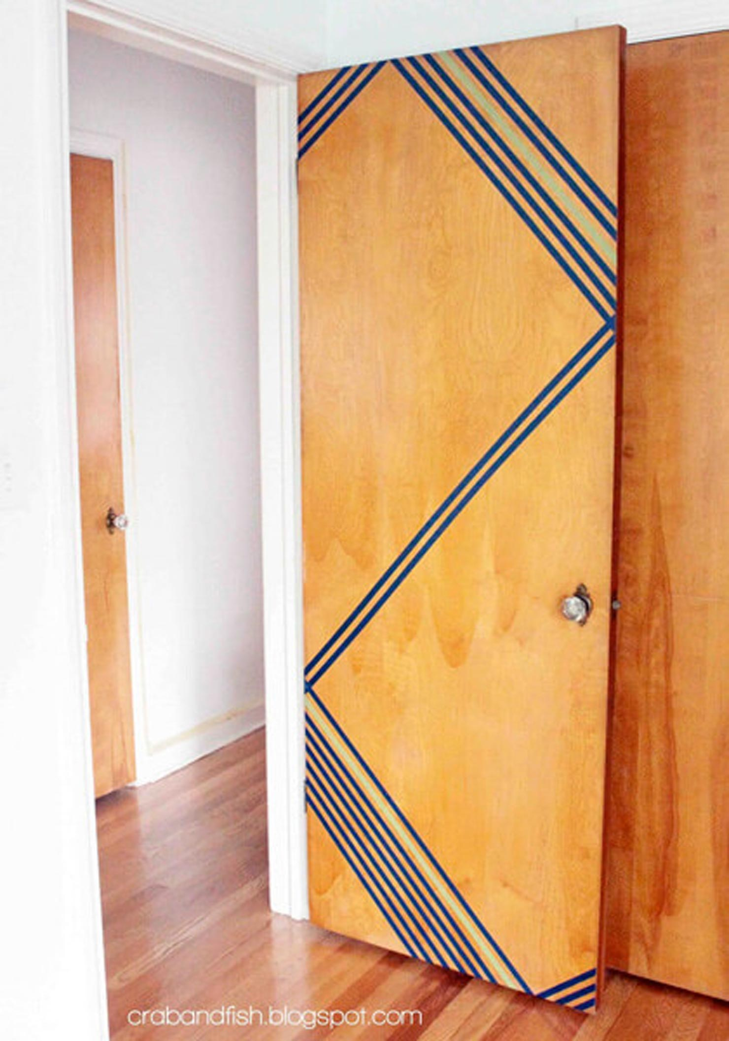 a door with a washi tape desigin on it.