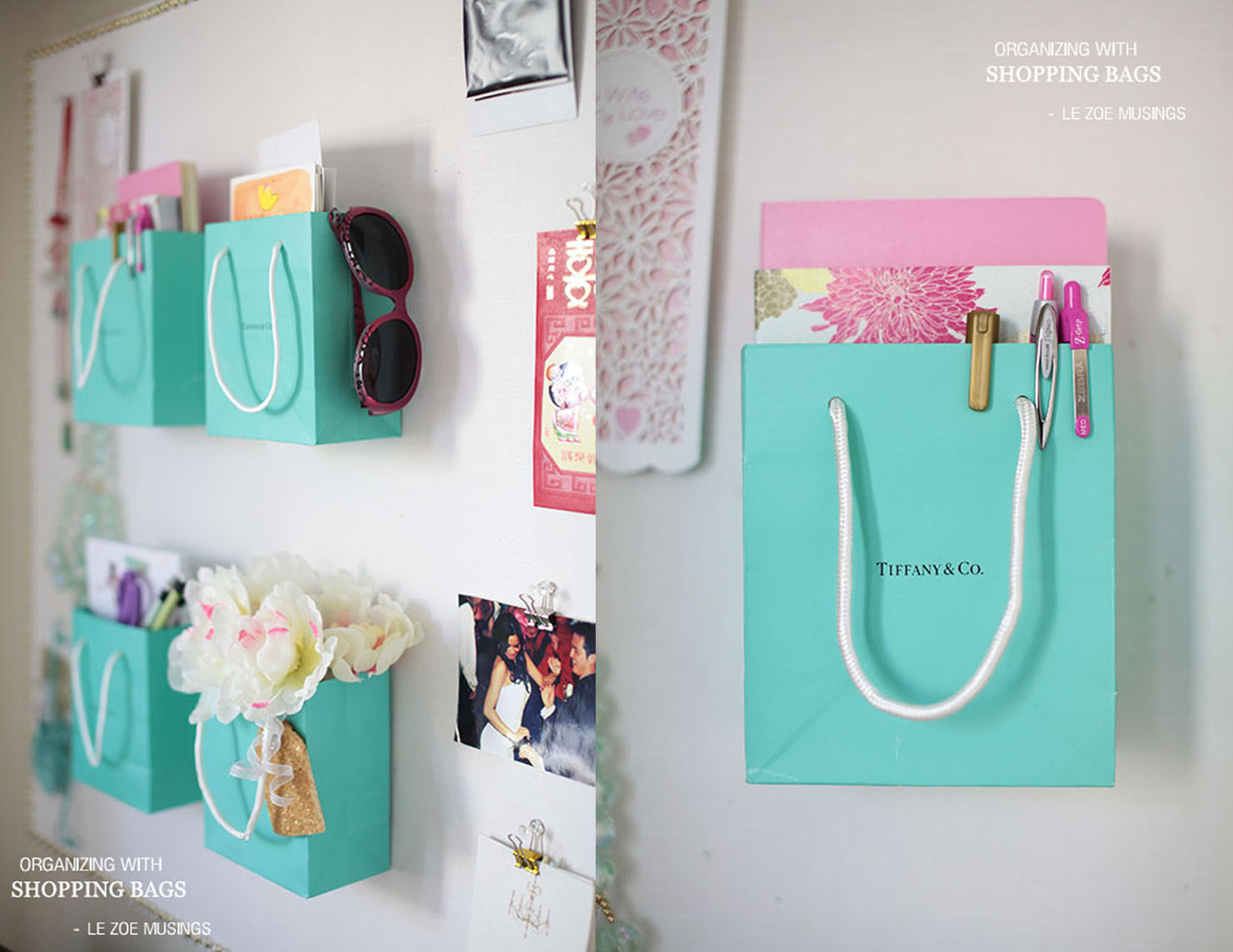 blue Tiffany bags on a wall.