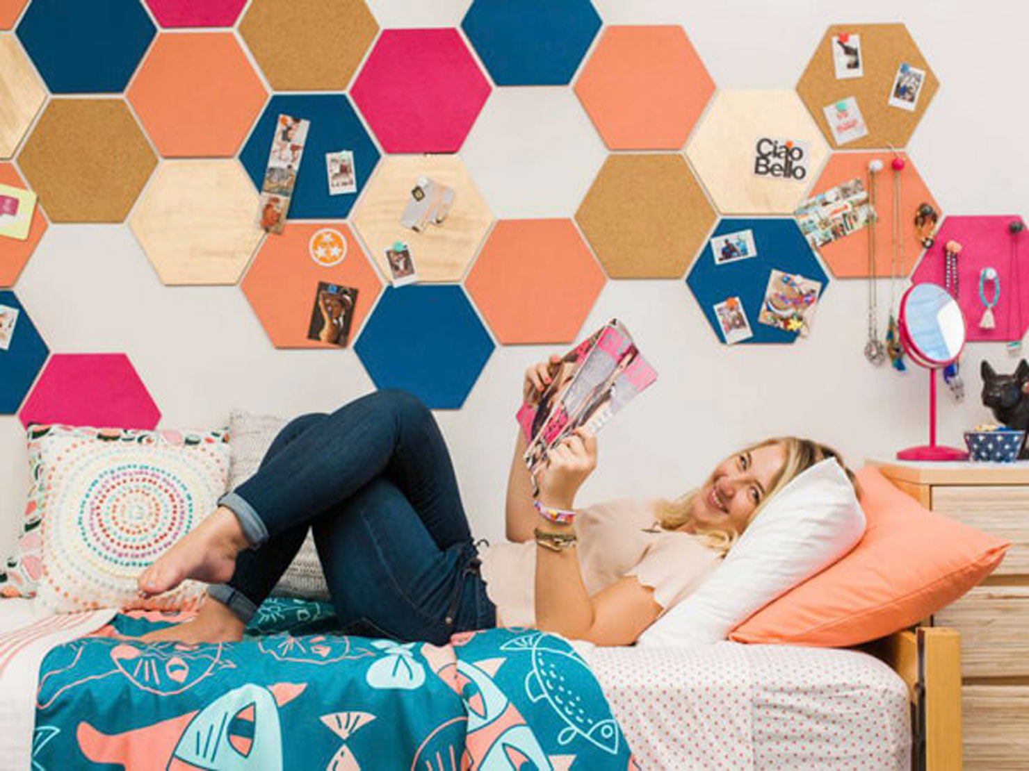colorful hexagon wall.