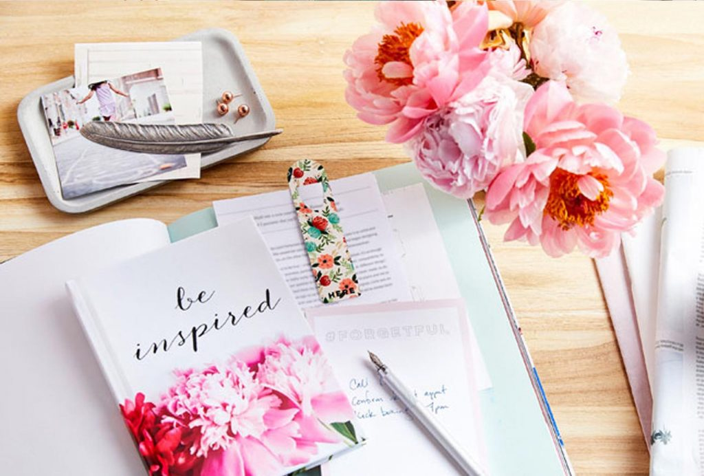 A personalized journal on a desk.