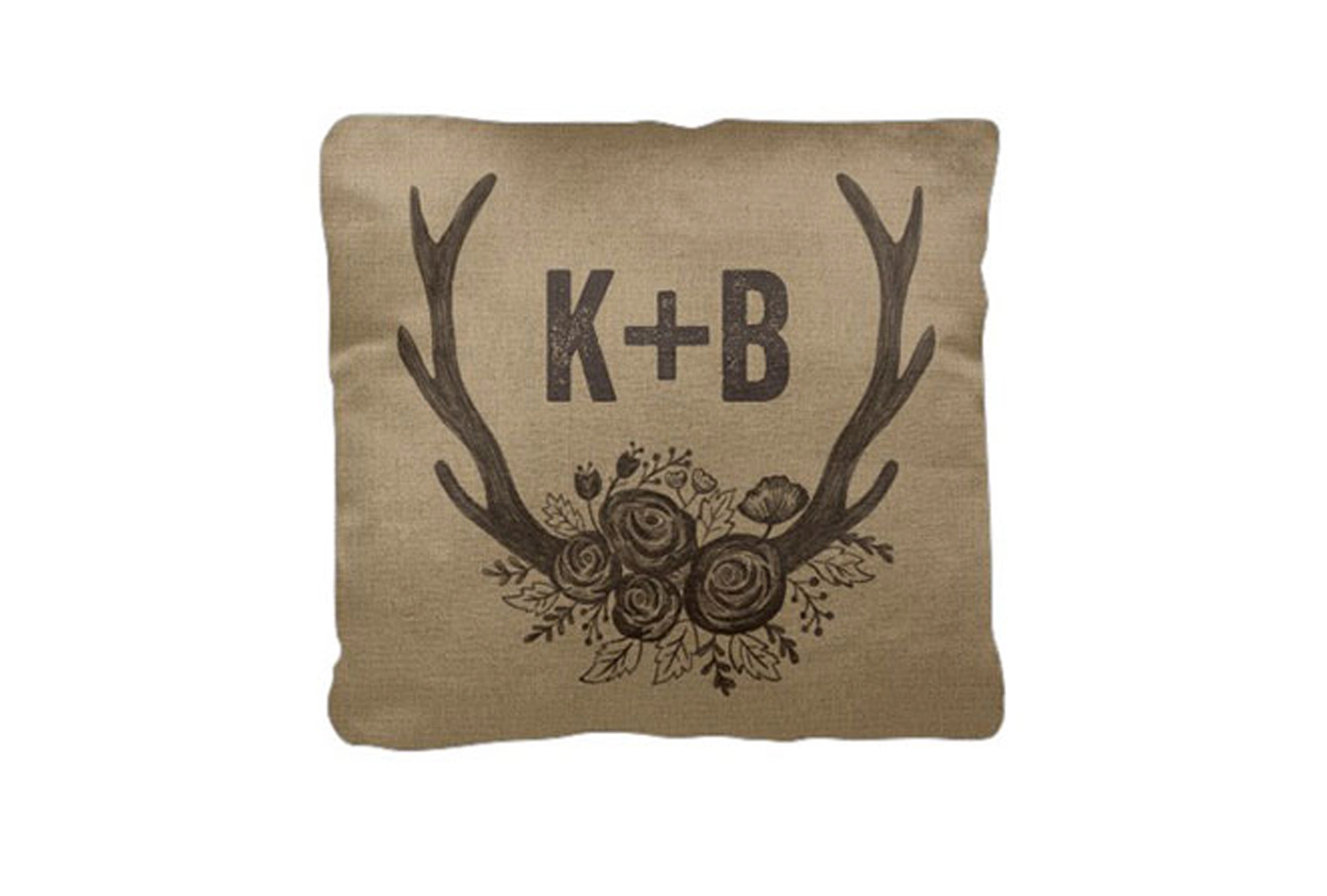 gifts for girlfriend rustic initials pillow