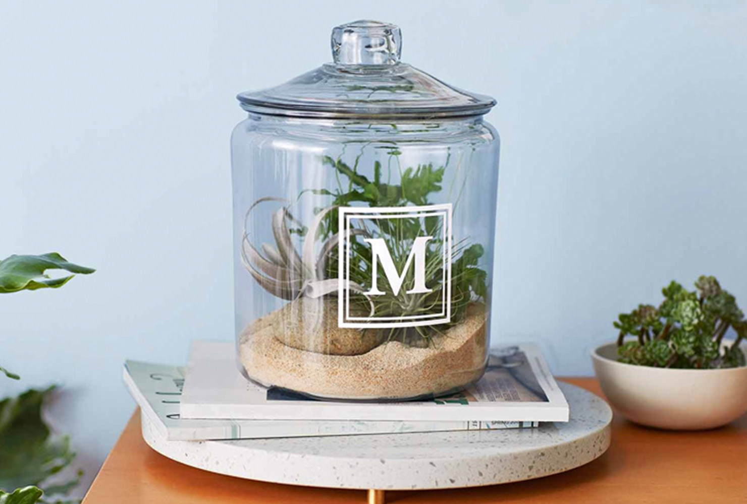 gifts for mom monogram terrarium