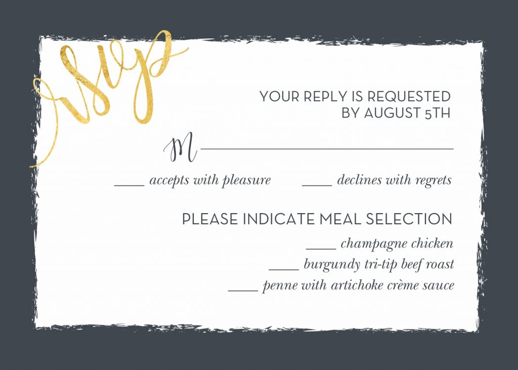 Contemporary wedding RSVP card.A wedding response card should be completed and mailed out ASAP to meet the deadline for the RSVP.