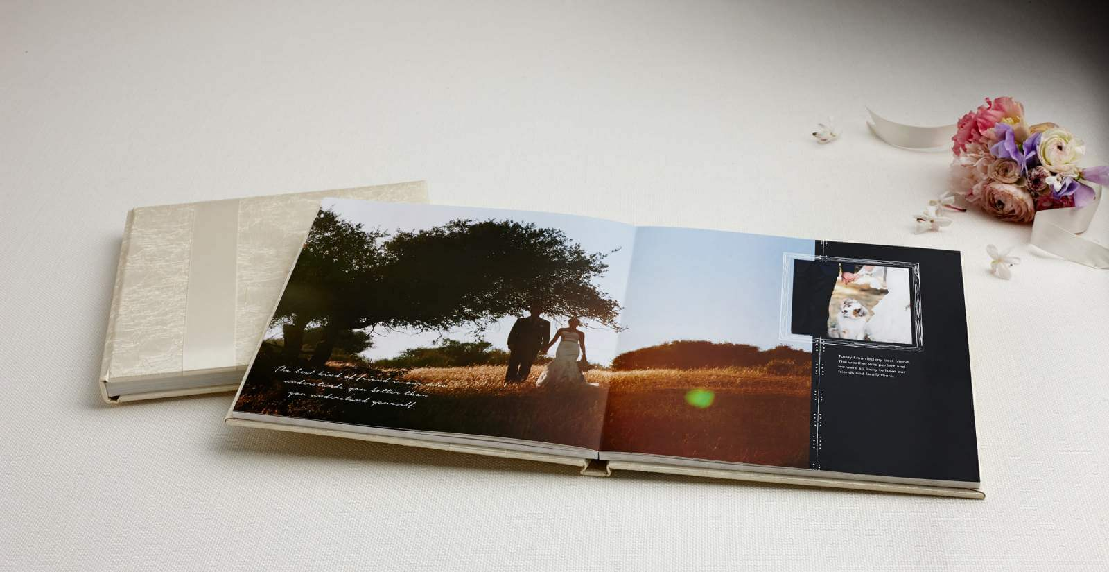 A rustic-style wedding photo book.