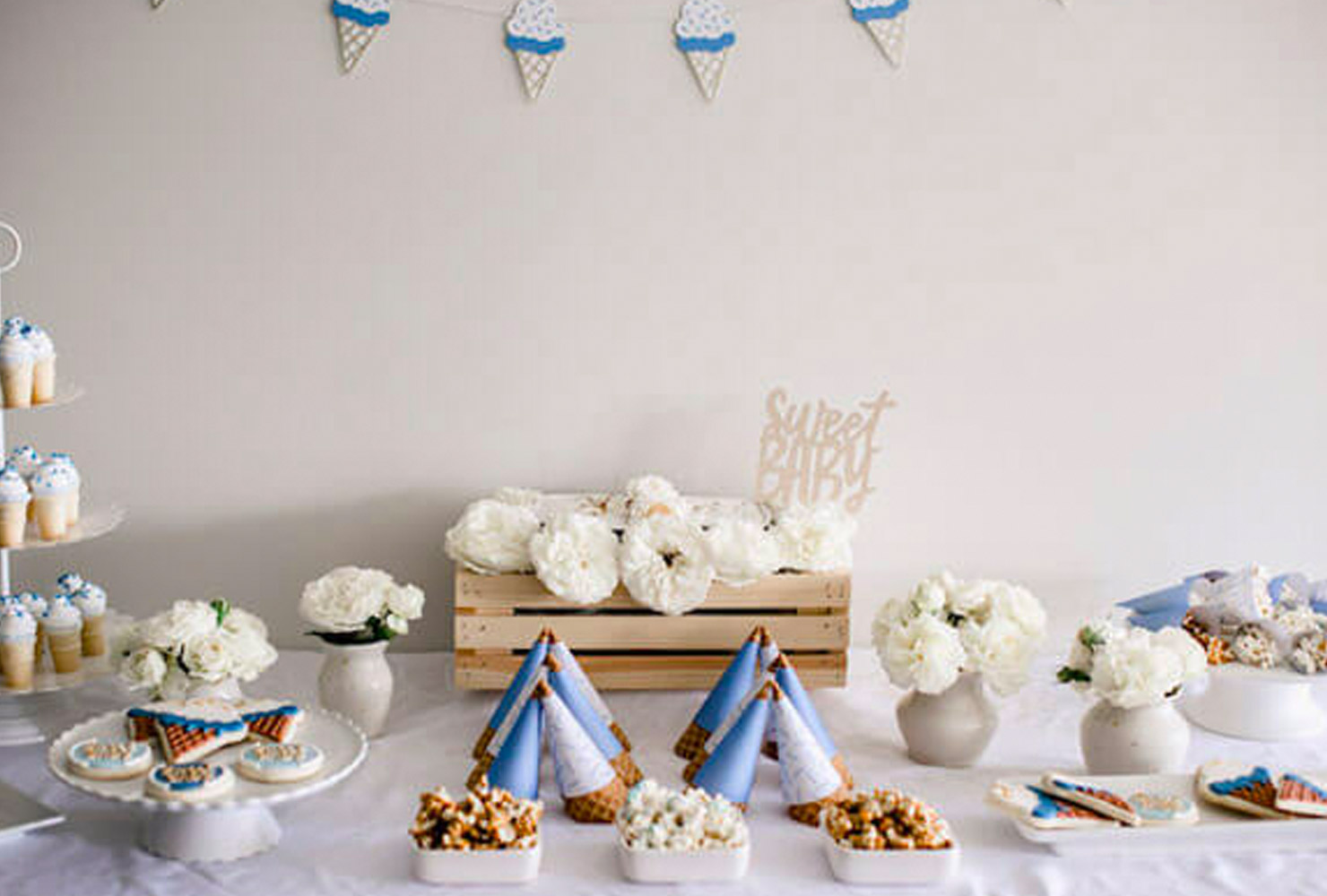 baby boy baby shower themes blue ice cream cones