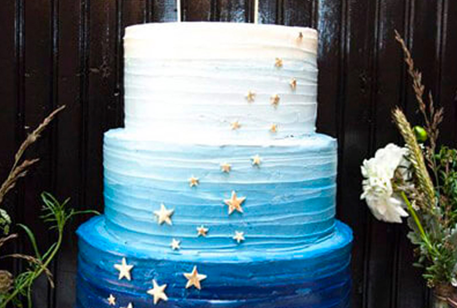 baby boy baby shower themes blue ombre star cake