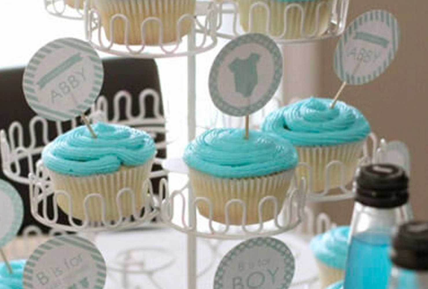 baby boy baby shower themes cup cake toppers blue