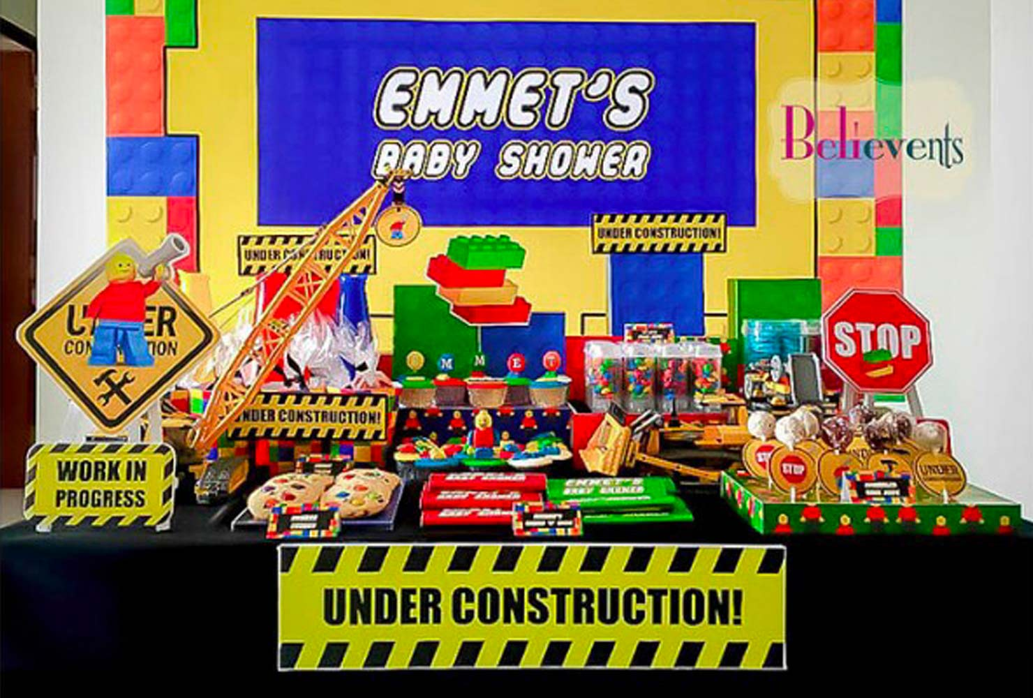 baby boy baby shower themes lego construction