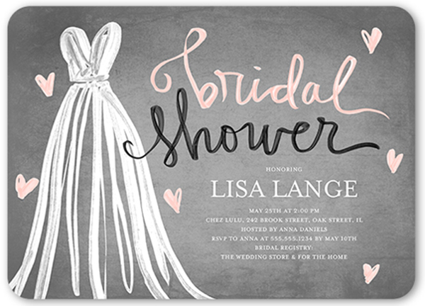 grey and pink bridal shower invitation with white wedding dress on it