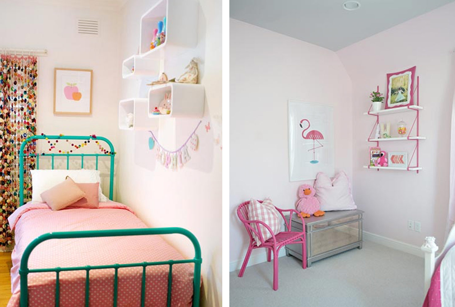 Girls bedroom with pink decor.
