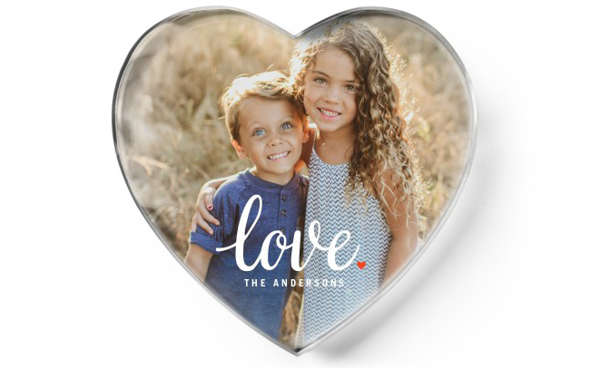 custom paperweights with image of sister and bother in a heart paperweight