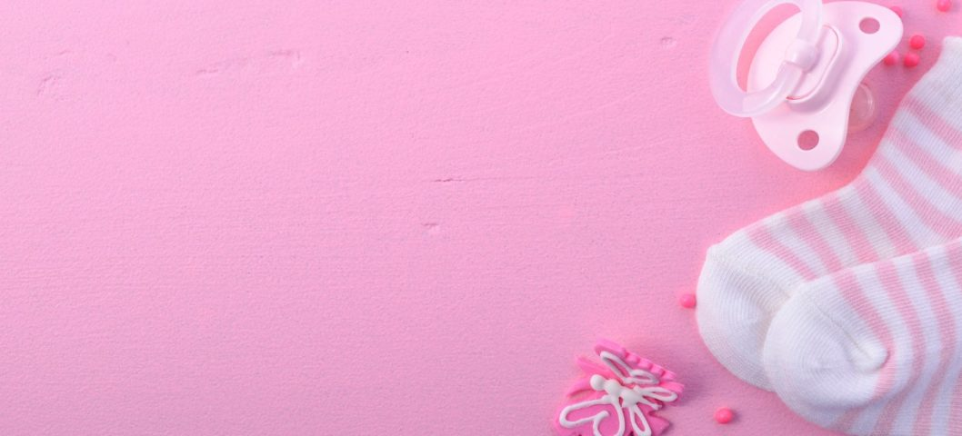 pink baby shower nursery background picture with baby socks