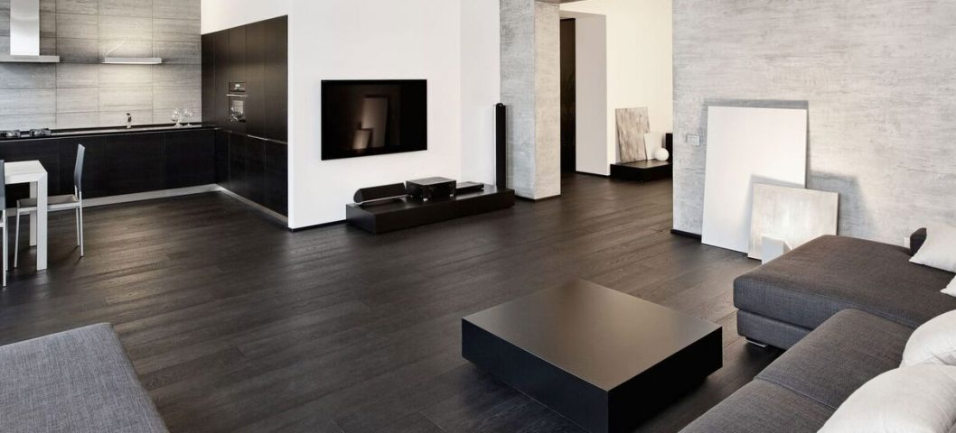 Black and white living room with sofa