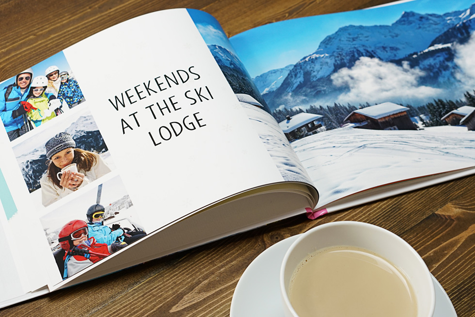 make your own custom photo book of a winter vacation