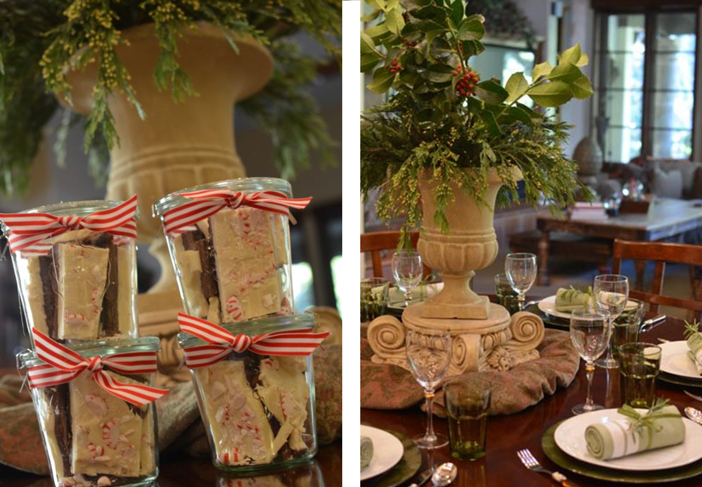 Simple table decor with a few holiday accents.