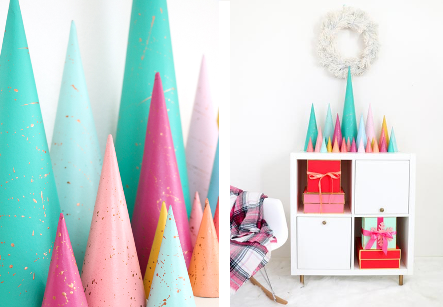 Colorful Christmas decorations in a white room.