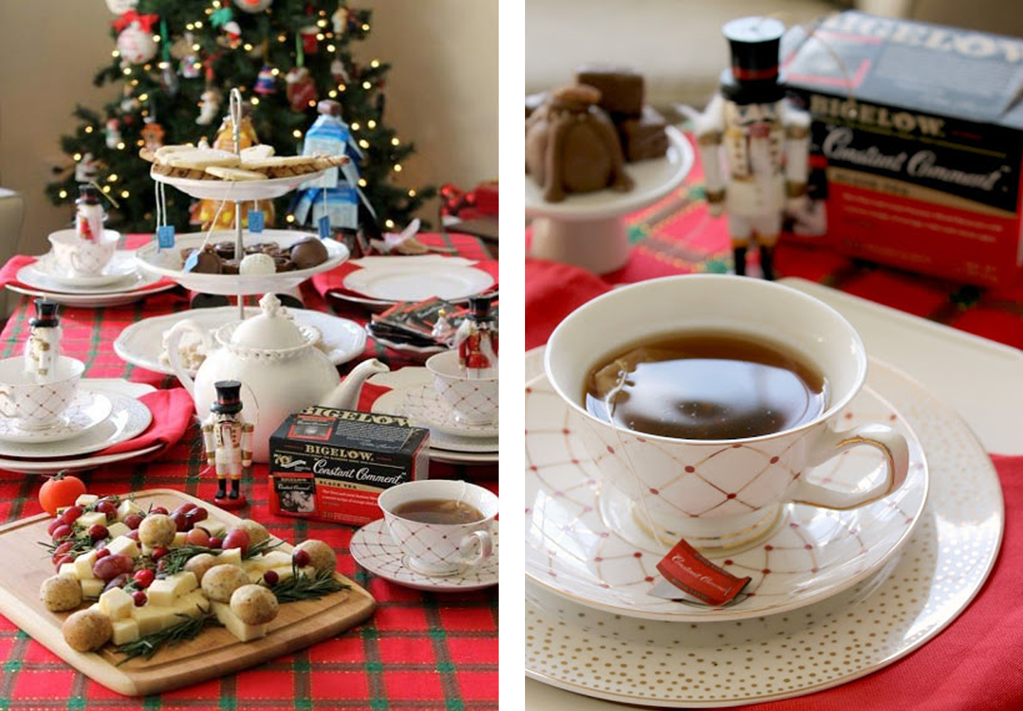 Dinner table with a holiday tea party setup.