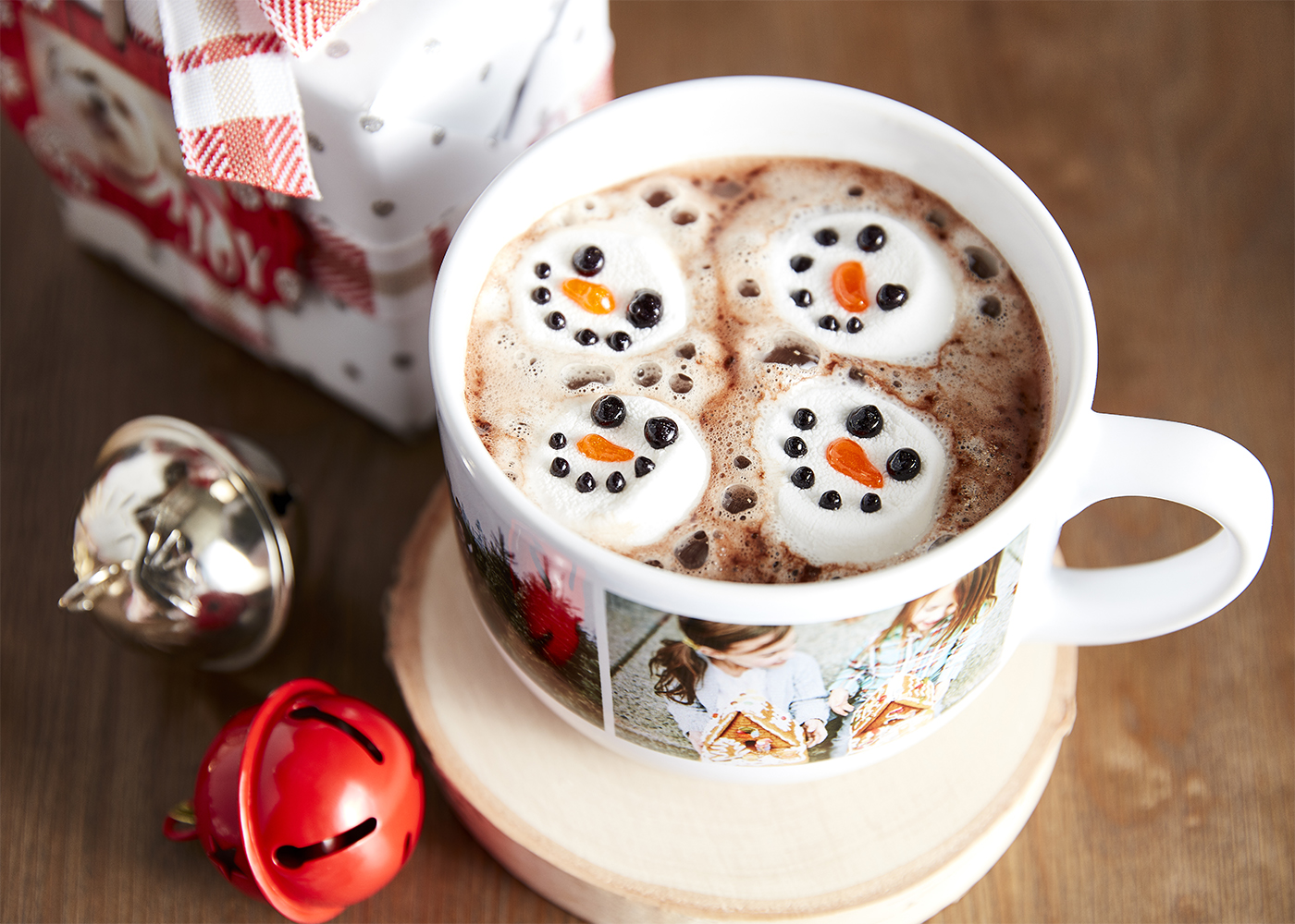 Hot cocoa with snowman marshmallows.