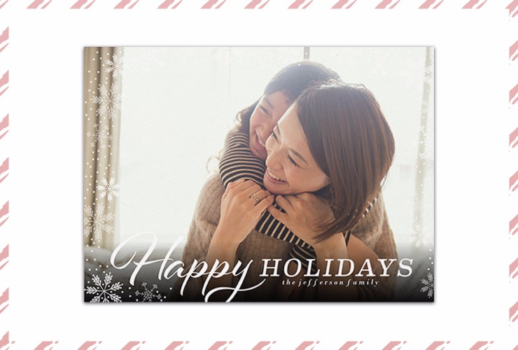 Mother and daughter hugging on Christmas card