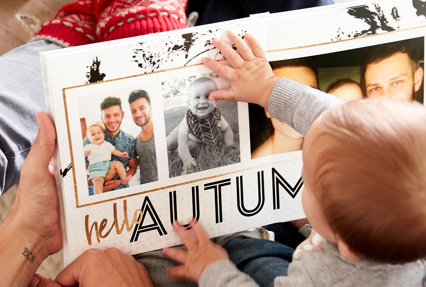 seasonal autumn themed family photo book with hardcover design