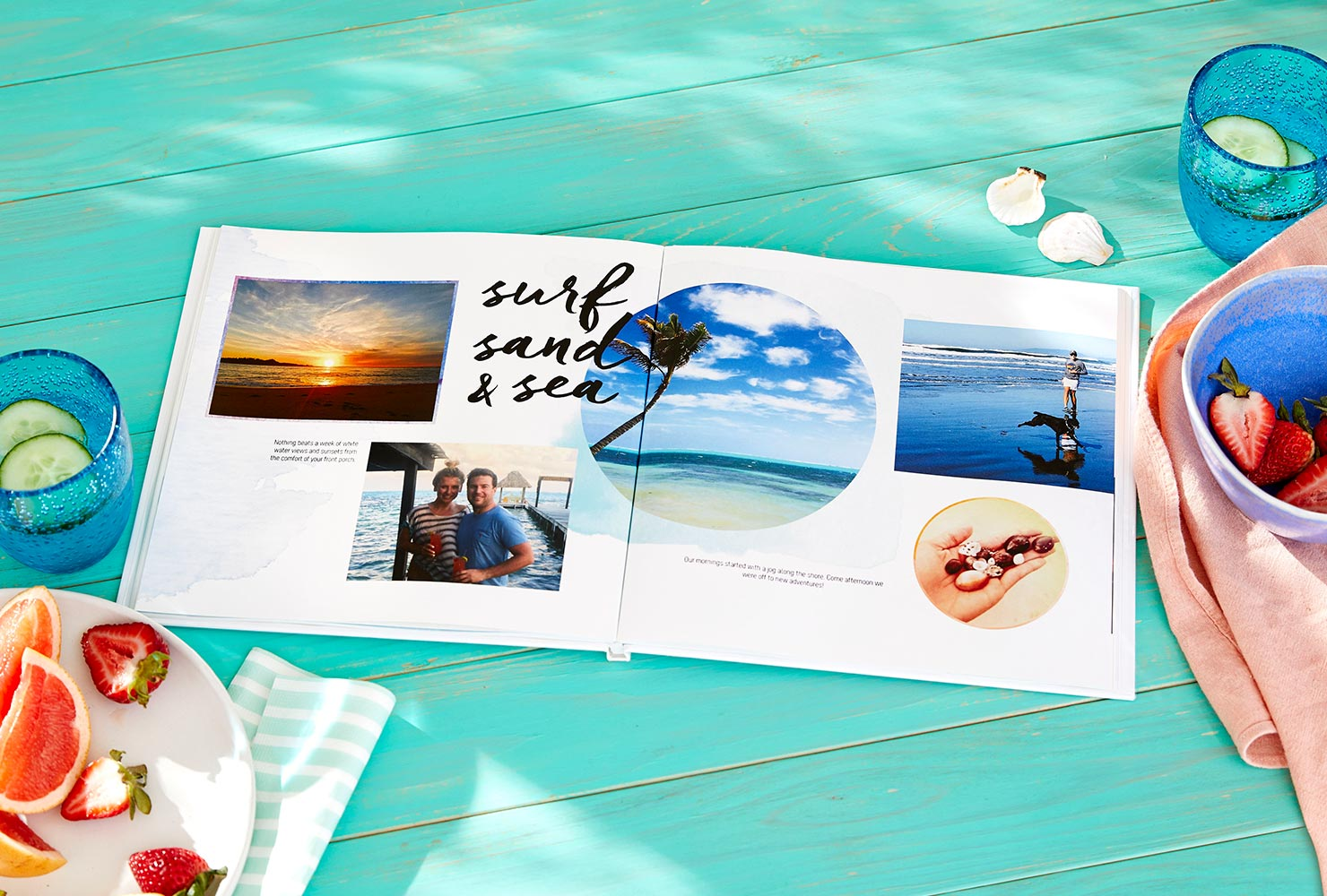 a vacation photo book sits on table