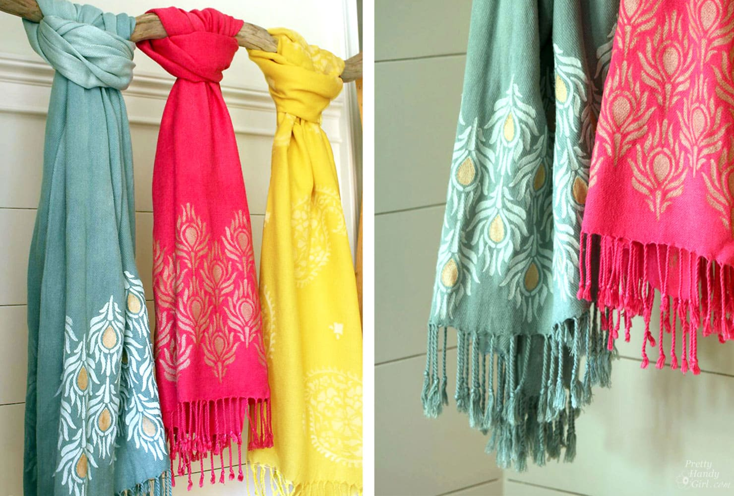 creative gift ideas stenciled scarves
