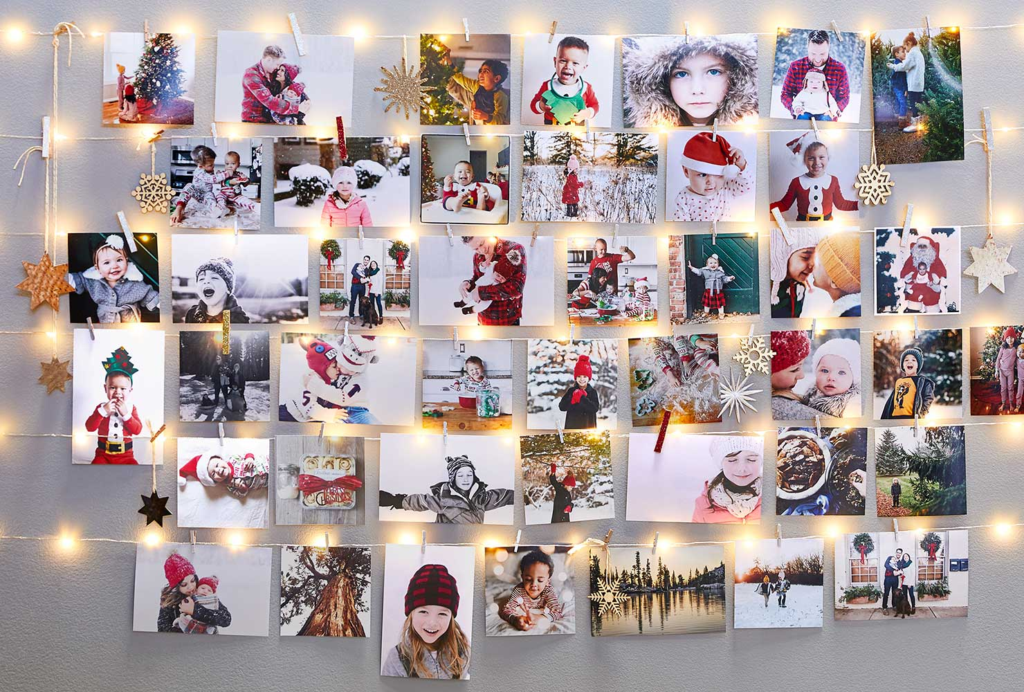 holiday photo wall with lights