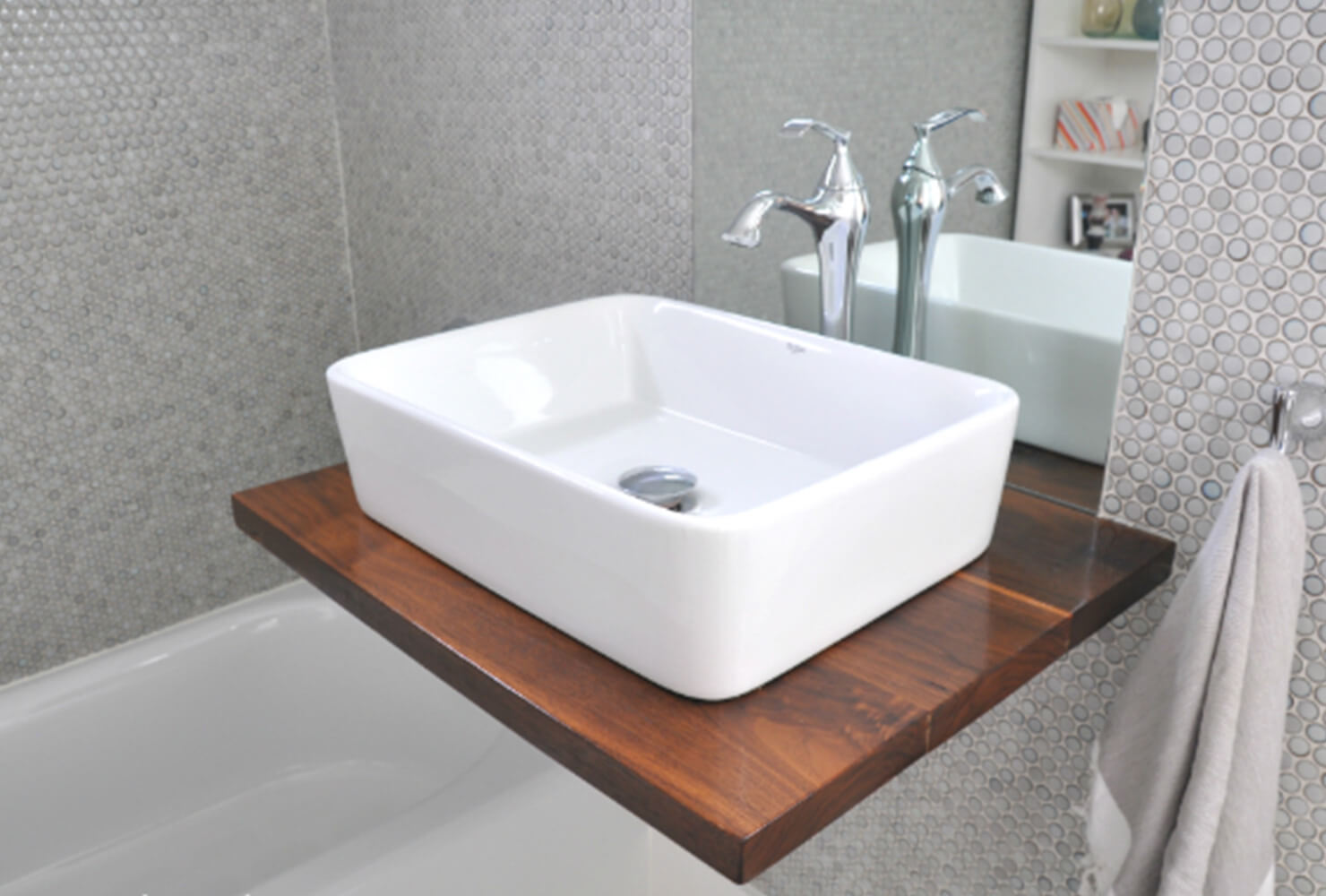 rustic wooden sink counter