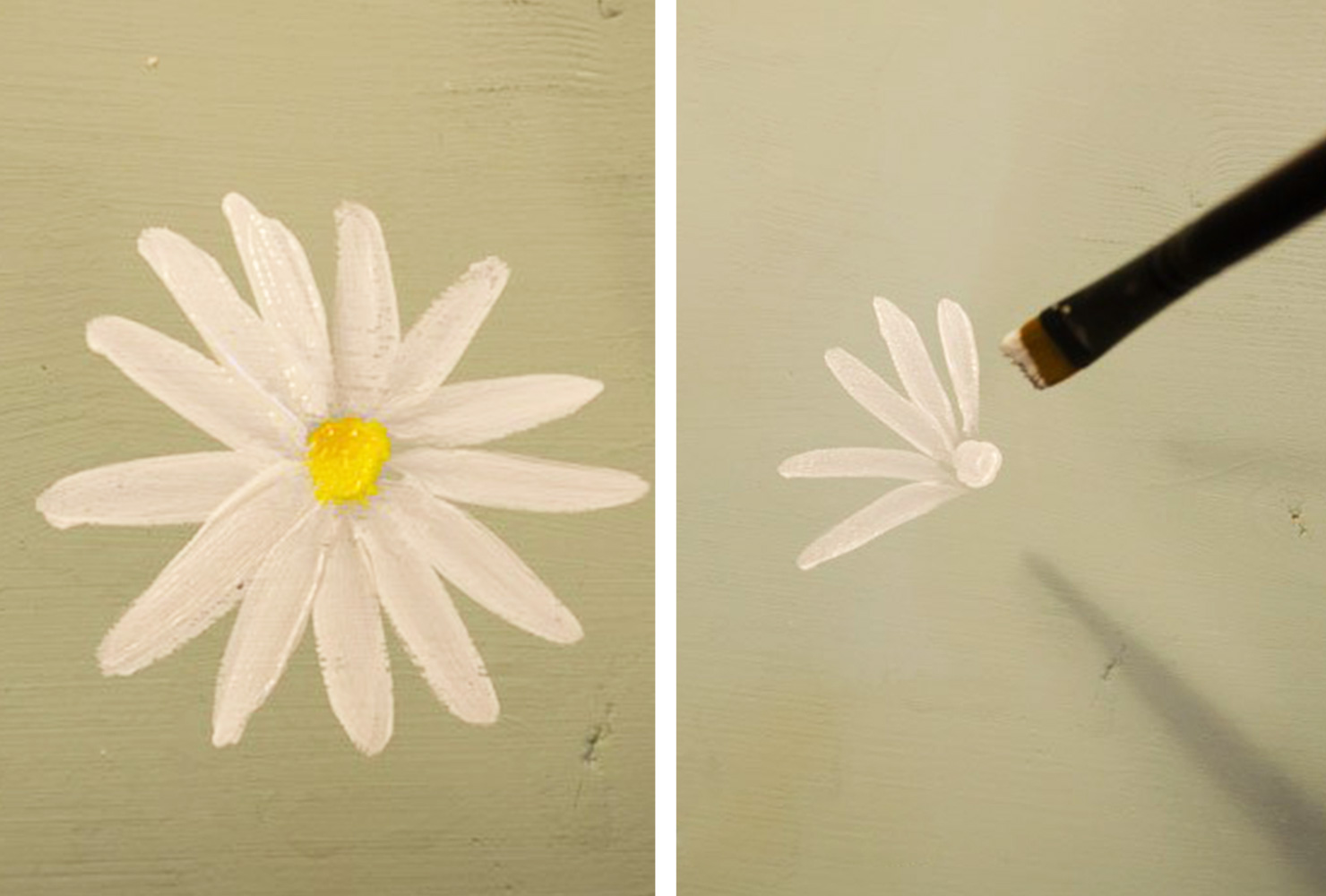 a single daisy painted on canvas