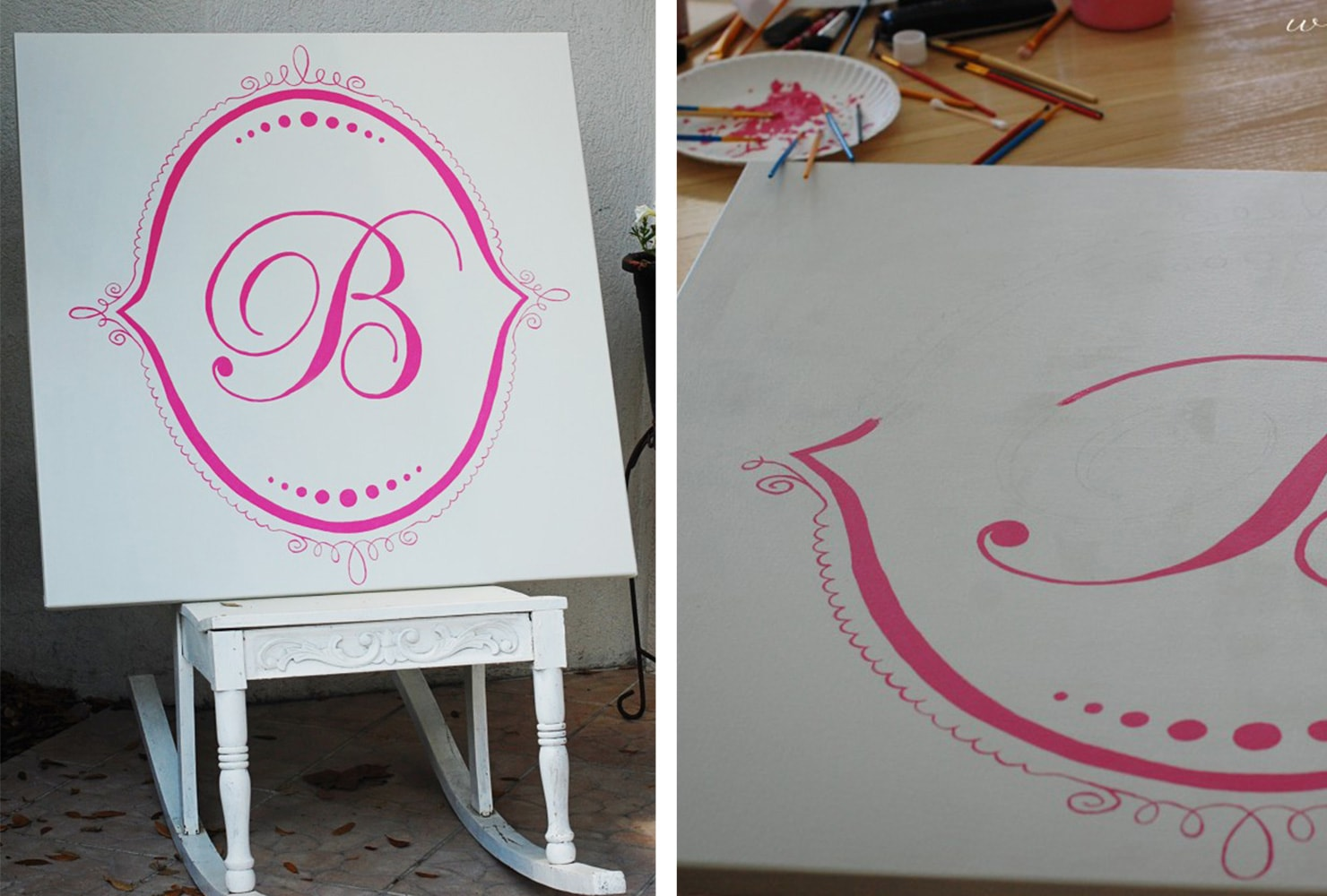hand painted monogram on canvas