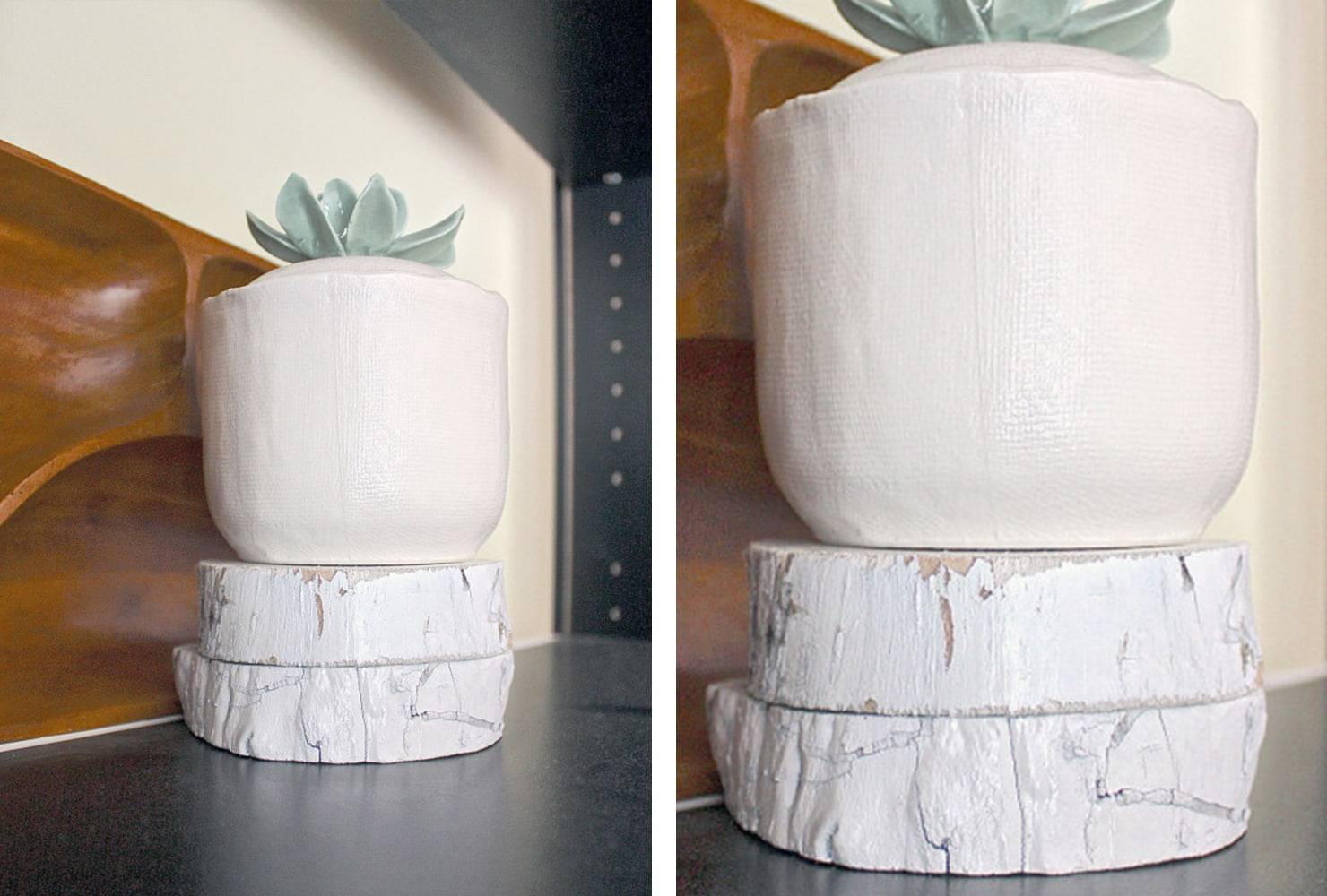 succulent sits on stand