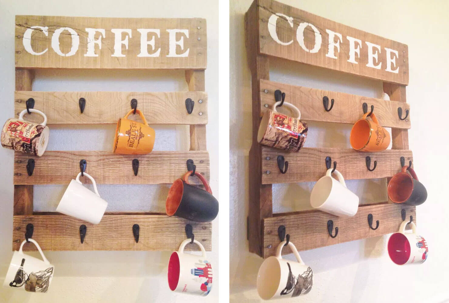 coffee cups hang from hooks